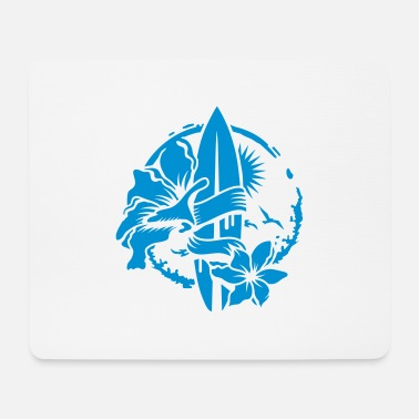 California A surfboard with blossoms - Mouse Pad