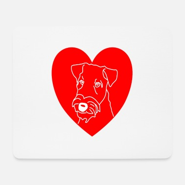 Woofy Airedale Terrier DOG SHIRT Dogshirt Love Heart - Mouse Pad