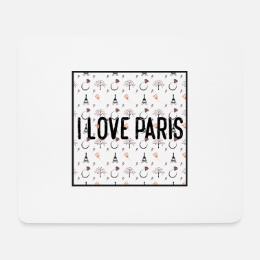 I love paris pattern square transparent - Mouse Pad