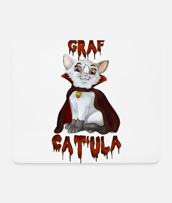 Yolo Mouse Pads - Count Cat'ula - Halloween Cat | Yolo Artwork - Mouse Pad white