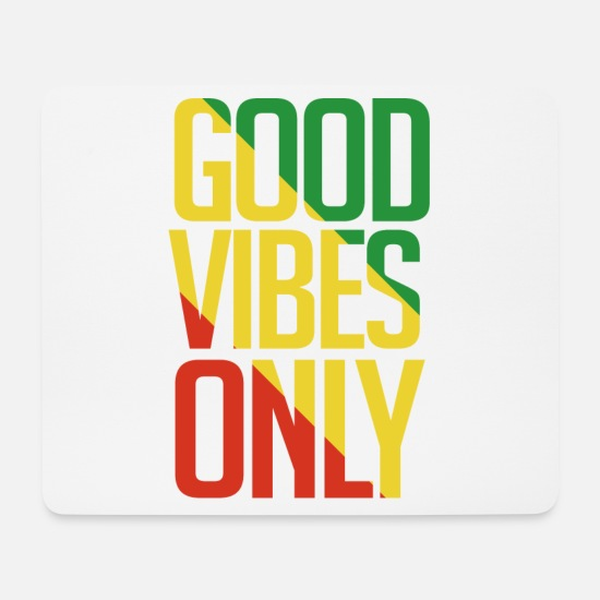 Jamaica Mouse Pads - Good V ibes only Rasta - Mouse Pad white