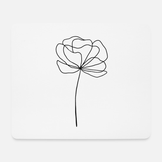 Love Mouse Pads - Flower in black lineart design - Mouse Pad white