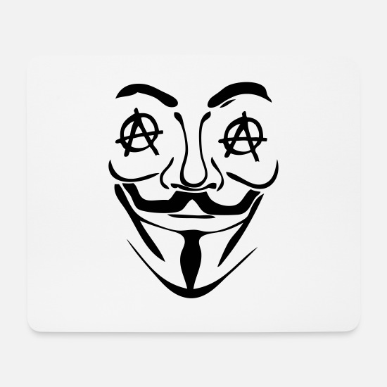 Anarchiste Tapis de souris  - logo anarchy anonymous 3 masque - Tapis de souris blanc