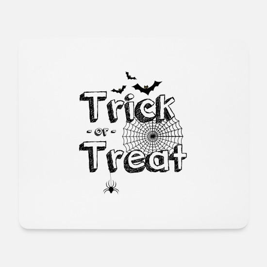Hexenbesen Mousepads  - Trick or Treat - Halloween - Kürbis - Spinnennetz - Mousepad Weiß