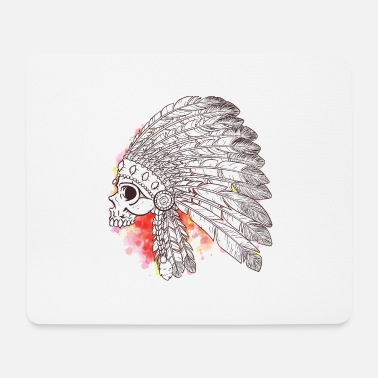 Redskin Watercolor skull - Mouse Pad
