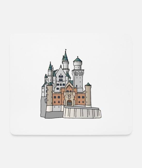 Mountains Mouse Pads - Neuschwanstein Castle c - Mouse Pad white