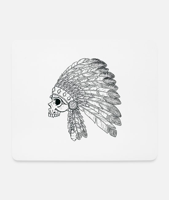 Native Mouse Pads - Native American Indian Skull - Mouse Pad white
