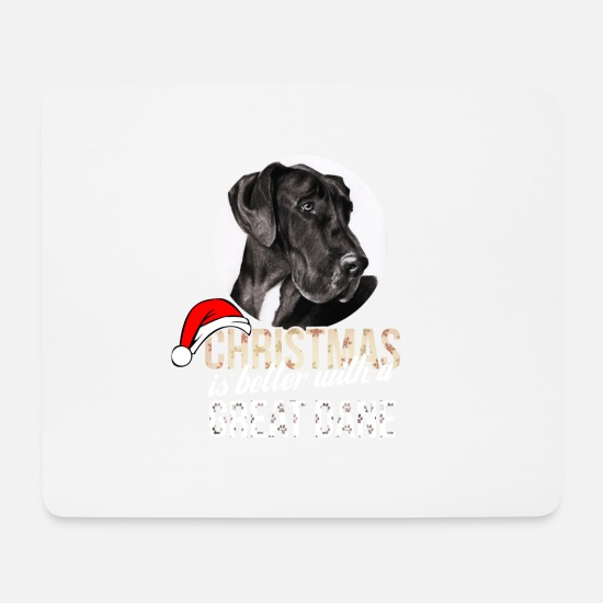 Dane Mouse Pads - Great dane - Christmas is better with a Great Dane - Mouse Pad white