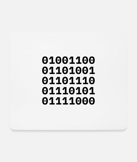 "Code Mouse Pads - ""LINUX"" in binary code. - Mouse Pad white"