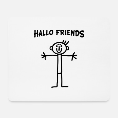 Line Drawing Stick figure - Hallo Friends - Mouse Pad