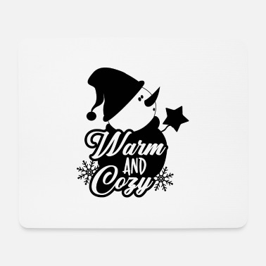 Designer Christmas Snowman Warm And Cozy - Mouse Pad