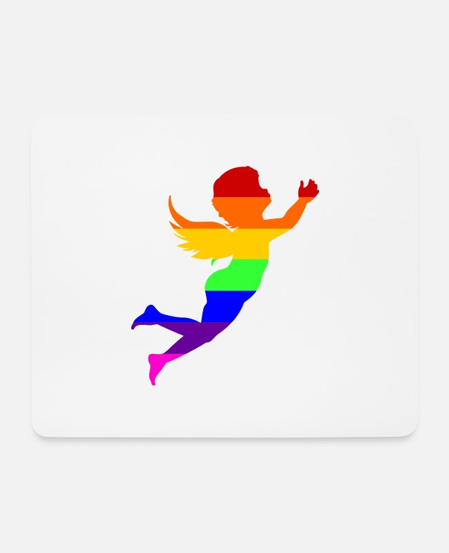 Proud Mouse Pads - Gay Pride - Angel - EN - Mouse Pad white