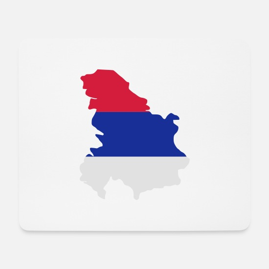 Flag Mouse Pads - Serbia - Mouse Pad white