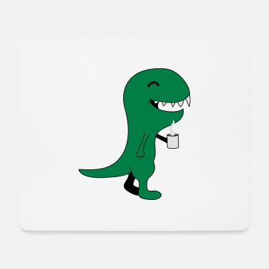 Drinking Coffee Dino - Mouse Pad