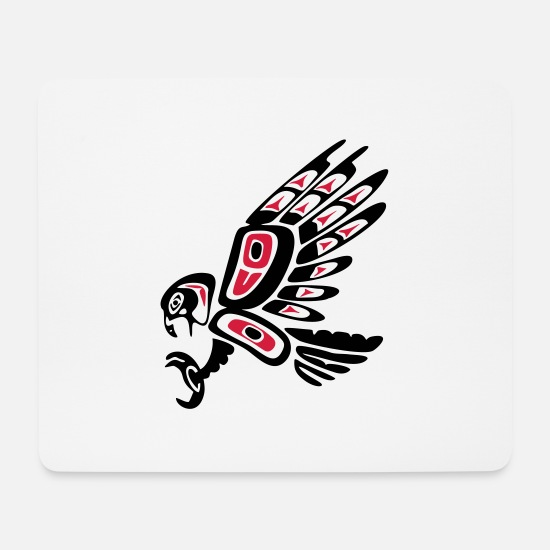 American Mouse Pads - Native american falcon - tribal art symbol, indian - Mouse Pad white