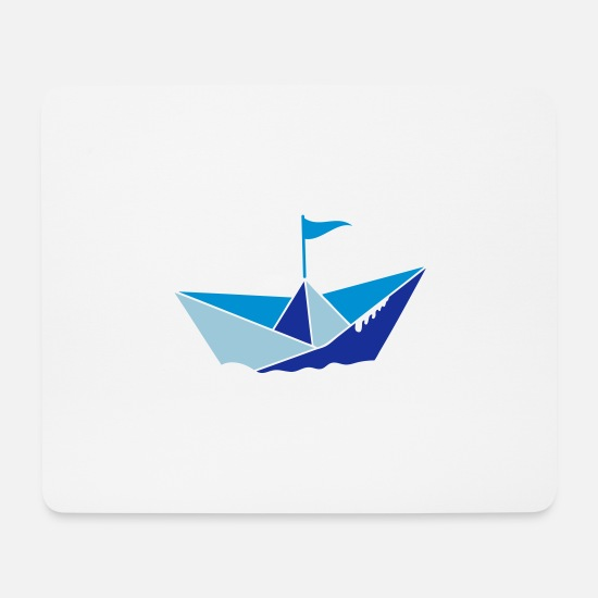 Small Mouse Pads - small paper boat in the water with flag - Mouse Pad white