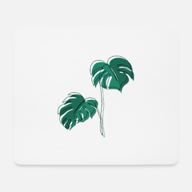 Minimum Monstera, Lineart, plant, Pflanze, Leaf, Minimal - Mouse Pad