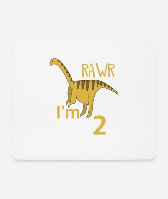 Dinosaurs Mouse Pads - For the 2 birthday for boys Barosaurus - Mouse Pad white