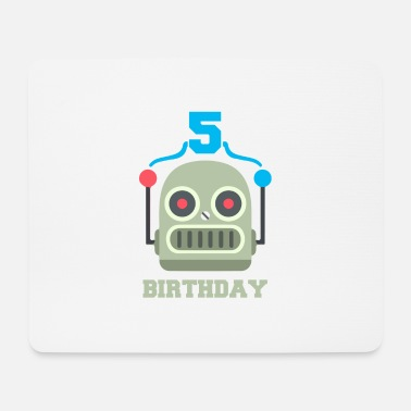 Birthday Party Kids birthday 5 year robot birthday party - Mouse Pad