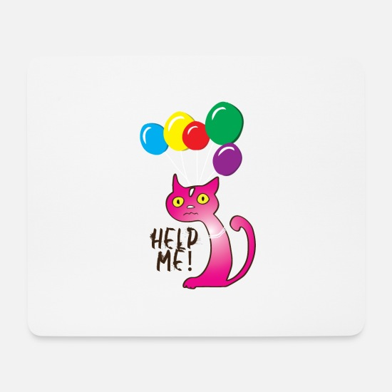 Kitty Cat Mouse Pads - Cat Help me, Help me - Mouse Pad white