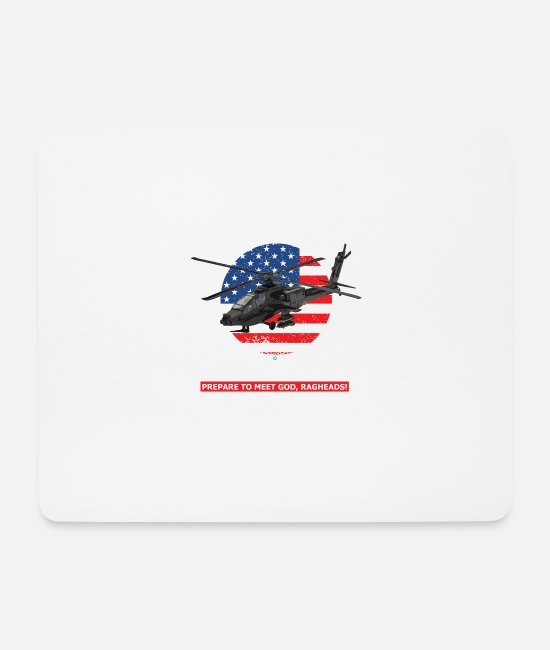 Special Forces Mouse Pads - AH 64D Apache Helicopter - Mouse Pad white