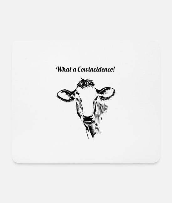 Dairy Cow Mouse Pads - Funny cow pun design - mouth covering - Mouse Pad white