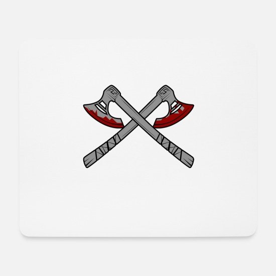 Viking Mouse Pads - Crossed bloody ax, axes Vikings - Mouse Pad white