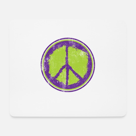 Love Mouse Pads - Peace Peace Peace Sign - Mouse Pad white