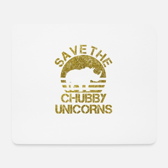 Rhinoceros Mouse Pads - SAVE THE CHUBBY UNICORNS I Rhino Animal Gift - Mouse Pad white