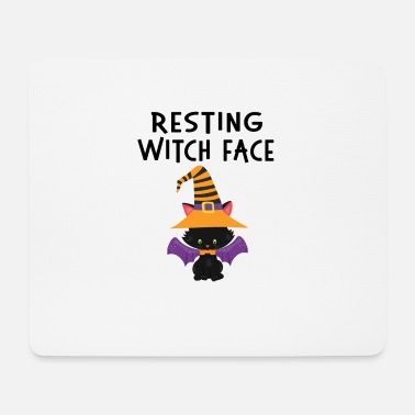 Dolcetto O Scherzetto Resting WItch Face Halloween Cat Design - Tappetino per mouse (orizzontale)