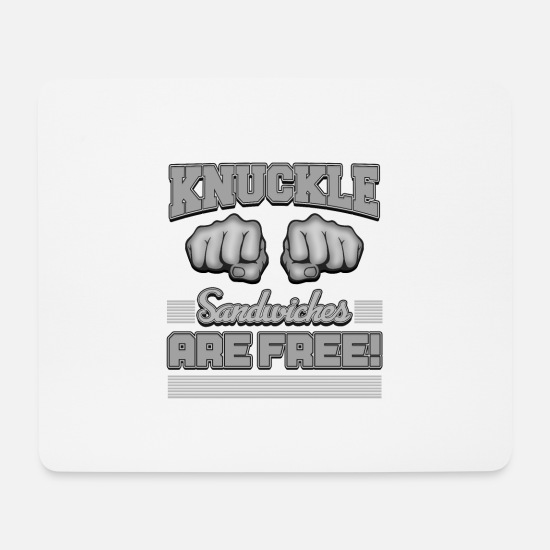 Brawl Mouse Pads - Free Knuckle Sandwiches | Knock Out Punch Quote - Mouse Pad white