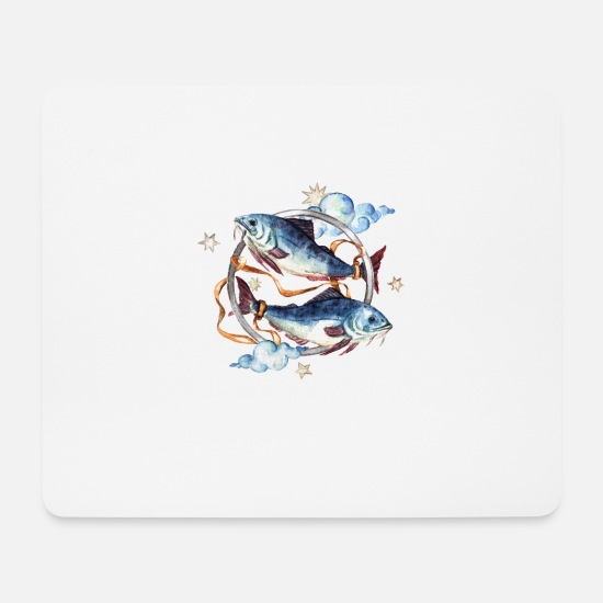 Birthday Mouse Pads - pisces watercolor Pisces zodiac horoscope - Mouse Pad white