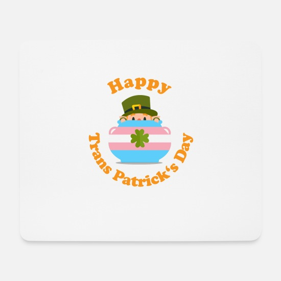 Alcohol Mouse Pads - Happy St. Patrick's Day Trans Transgender Saint - Mouse Pad white