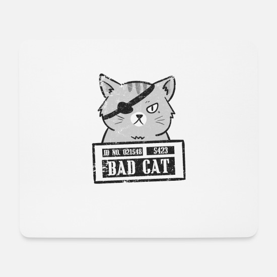Love Mouse Pads - Bad Cat | Criminal Feline | Cool Gangster Animal - Mouse Pad white