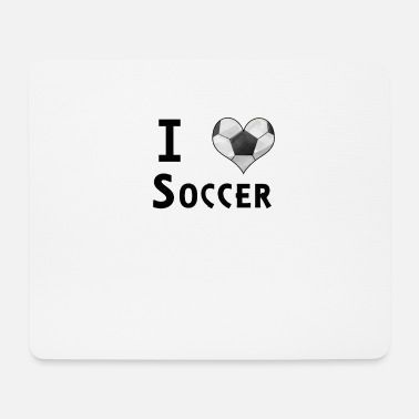 Orologio I Love Soccer Football Heart Fan Design - Tappetino per mouse (orizzontale)