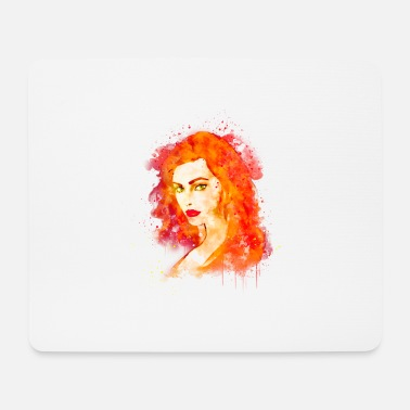 Green Hair Sexy woman with red hair and green eyes Hot - Mouse Pad