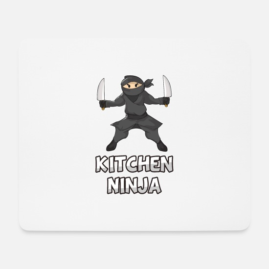 Gift Idea Mouse Pads - Ninja kitchen knife chef cook kids gift - Mouse Pad white