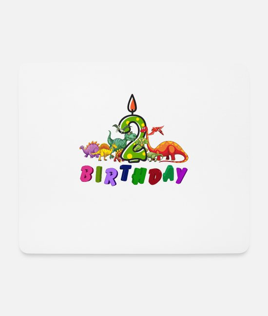 2 Years Mouse Pads - 2nd Birthday Dino Gift Dinosaur - Mouse Pad white
