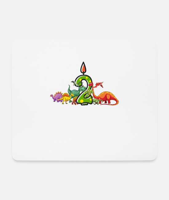 2 Years Mouse Pads - 2nd Birthday Dinosaur Dino Gift - Mouse Pad white