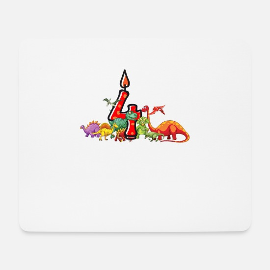 Birthday Mouse Pads - 4th Birthday Dino Dinosaur Gift - Mouse Pad white