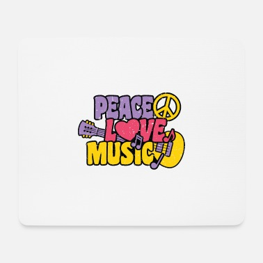 Peace Love Music Hippie Music Festival 70s no was - Mouse Pad