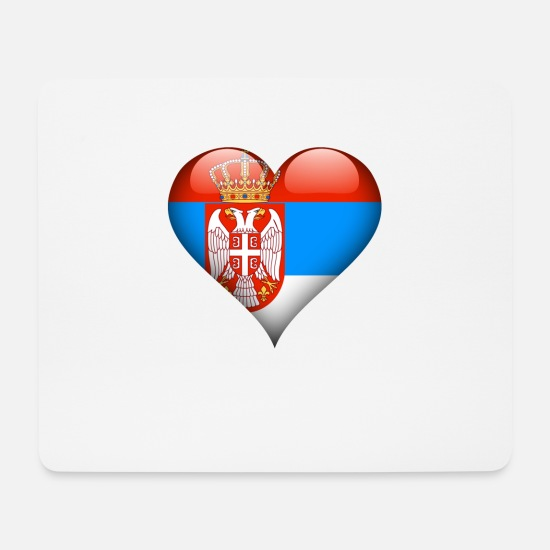 Country Mouse Pads - Heart Serbia Flag - Mouse Pad white