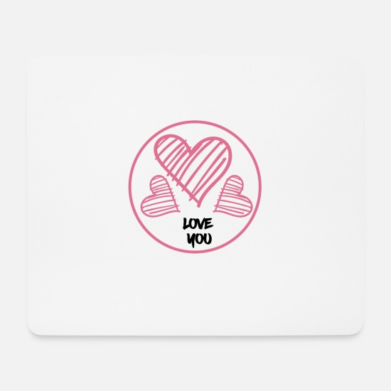 Love Mouse Pads - Love, hearts, love you, heart - Mouse Pad white