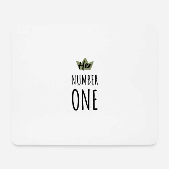 Engagement Mouse Pads - HER & HIS NUMBER ONE partner look love gift - Mouse Pad white