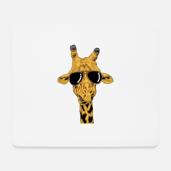 Birthday Mouse Pads - Giraffe with cool sunglasses and look - Mouse Pad white