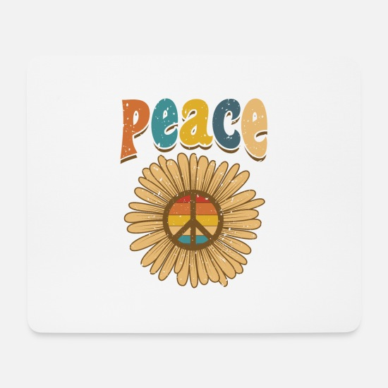 Peace Sign Mouse Pads - Flower Peace Love Hippie anti was a peace sign - Mouse Pad white