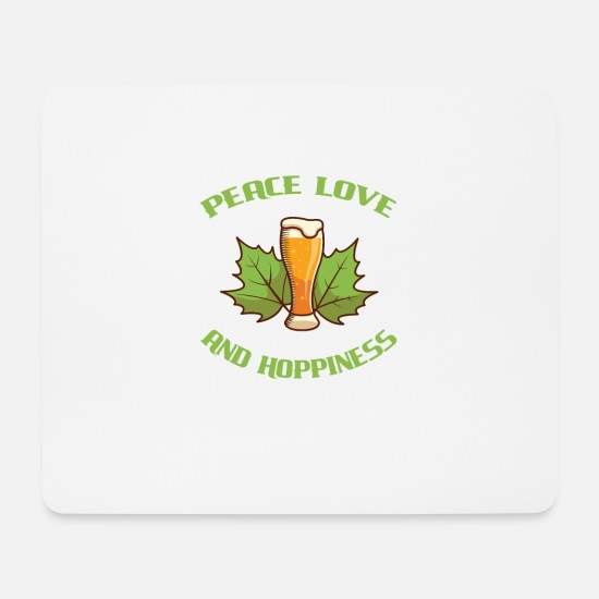 Opa Muismatjes  - Peace Love And Hoppiness Happiness Beer Luck - Muismat wit