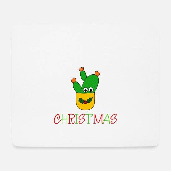 Cactus Mouse Pads - Hug Me It's Christmas - Opuntia Microdasys Cactus - Mouse Pad white