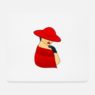 Girl Woman in a red hat - Mouse Pad