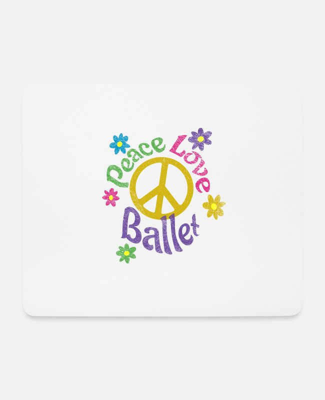 Hippie Mouse Pads - Peace Love Ballet Distressed - Mouse Pad white